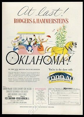 1955 Oklahoma movie musical release Rodgers and Hammerstein world premiere ad