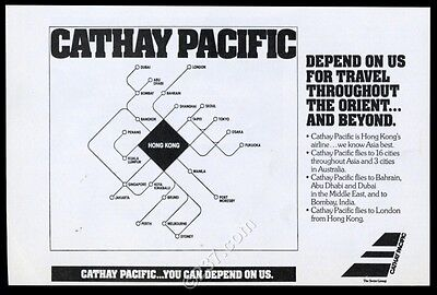 1982 Cathay Pacific Airlines modern graphic system map vintage print ad