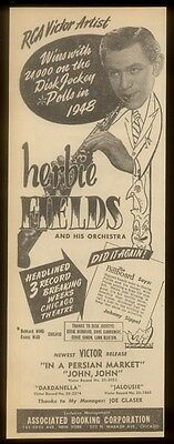 1948 Herbie Fields photo music trade booking ad