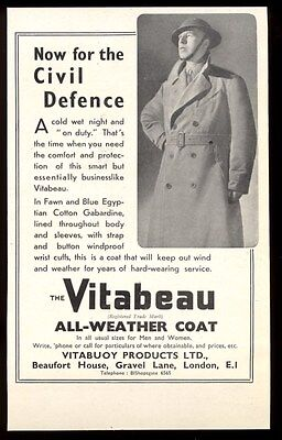 1941 British Civil Defence photo Vitabeau Vitabuoy trench coat vintage print ad