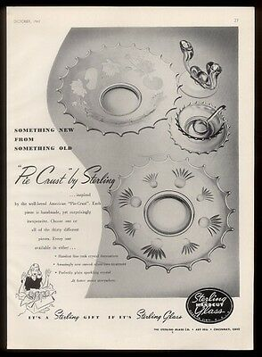 1947 Sterling Handcut Glass Pie Crust dishes photo vintage print ad