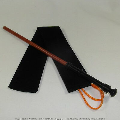 "14.25"" Healers Hand Turned Mahoe Wood Magic Wand Witch Wizard Wicca w/Velvet Bag"
