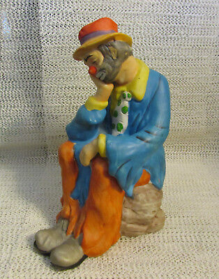 """Emmitt Kelly Jr Flambro Collection... 7.5"""" H Clown Sitting On Rock Head In Hand"""
