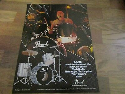 Pearl Export Series Dums - Chris Slade - AC/DC 1990's Magazine Print Ad
