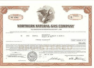 Alte Aktie USA Stock Wertpapier Northern Natural Gas Company 1974