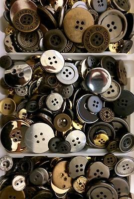 BB BUTTONS BULK MIXED LOT pack of 100 METALLIC LOOK  sewing craft acrylic metal