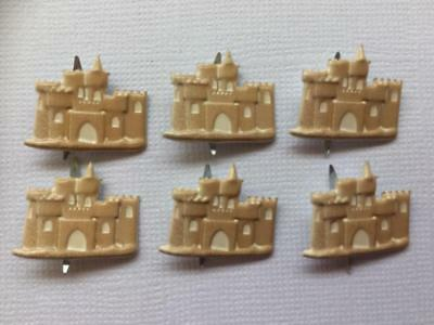 BRADS SANDCASTLES pk of 6 split pin craft scrapbooking beach holiday sand castle