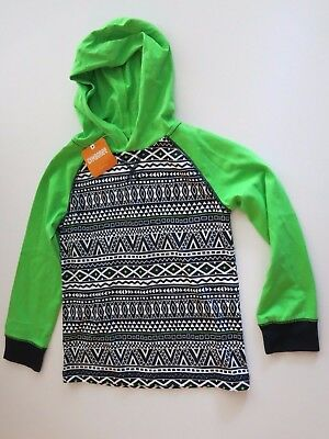NWT Gymboree Girl's 5T Long Sleeve Hooded Shirt Top T-Shirt Green Black White