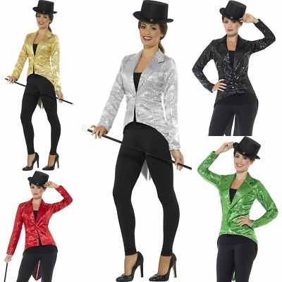 Ladies Gold Tailcoat Sequin Costume Cabaret 1920s Jazz Gatsby Magician Jacket