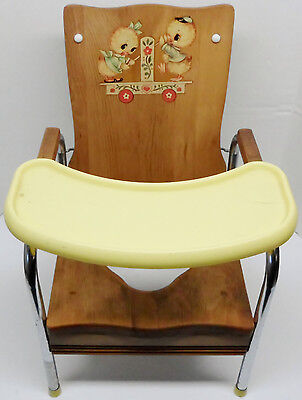 Vintage Wooden & Metal Folding Potty Training Chair w/ Ducks Rochelle Furniture