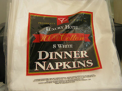 "Cotton Dinner Napkins 20"" X 20"" Set Of 8 White Luxury Hotel"