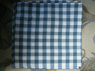 "Blue Gingham Cotton Table Napkins 18"" X 18"""