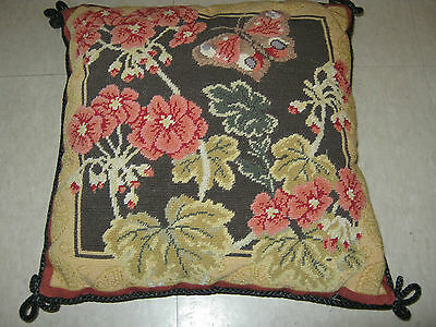 """Finished Tapestry Pillow Cushion 13"""" X 13"""" Floral Butterfly"""