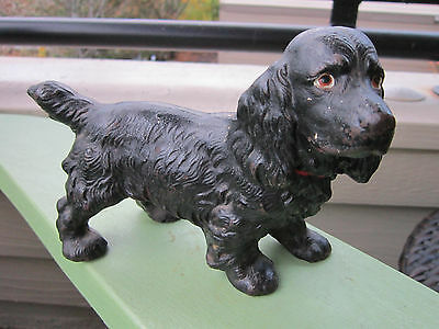 Antique Original Hubley Cast Iron Black Cocker Spaniel Dog Art Statue Doorstop
