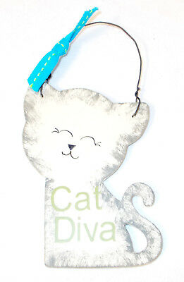 Wood Antique White Gray Sponged Cat Cutout Sign Magnet Cat Diva Green Lettering