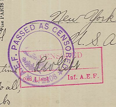 1918 WWI Soldier's Mail Censored Romantic postcard - H L Combs to Clara Georgia