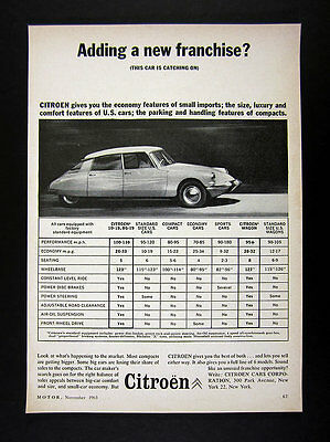 1963 Citroen Auto Dealers Franchise Opportunity car photo trade print Ad