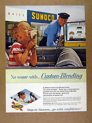 1961 Sunoco Filling Gas Service Station attendant pump photo vintage print Ad