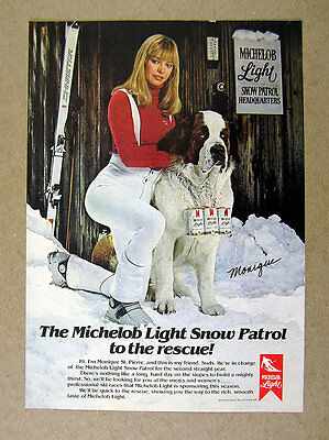 1981 Sexy Skier & BIG St Bernard dog photo Michelob Light Beer vintage print Ad