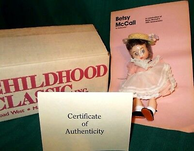 """8"""" Betsy McCall doll, 35th-Anniversary 1986 Rothchild in box - pink dress COA"""