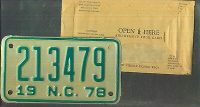 "NORTH CAROLINA 1978 license plate ""213479"" ***MINT w/envelope***MOTORCYCLE***"