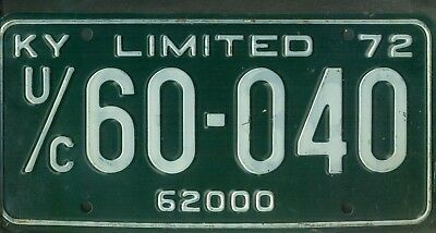 "KENTUCKY 1972 license plate ""U/C 60-040"" ***MINT***LIMITED***"