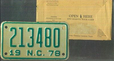 "NORTH CAROLINA 1978 license plate ""213480"" ***MINT w/envelope***MOTORCYCLE***"