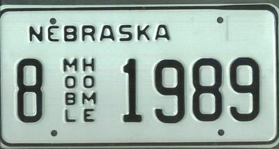 "NEBRASKA ***MINT*** ""1989"" license plate"