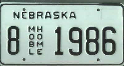 "NEBRASKA ***MINT*** ""1986"" license plate"