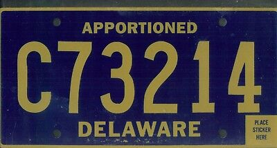 "DELAWARE license plate ""C73214"" ***APPORTIONED***MINT***"