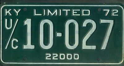 "KENTUCKY 1972 license plate ""U/C 10-027"" ***MINT***LIMITED***"