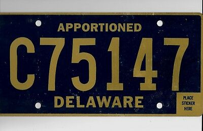 "DELAWARE license plate ""C75147"" ***APPORTIONED***UNUSED***"