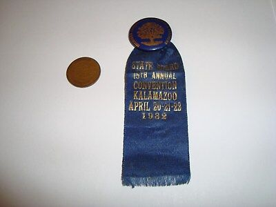Vintage 1932 MI Congress of Parents & Teachers Convention Pinback Pin & Ribbon
