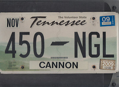 "TENNESSEE passenger 2009 license plate ""450 NGL"" ***CANNON***"