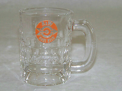 "Vintage: Mini 3 1/4"" Glass MUG / STEIN - A&W ROOT BEER - Orange Bullseye logo"