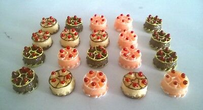Cakes x 20 assorted colours DOLLS HOUSE MINIATURES (F5484)