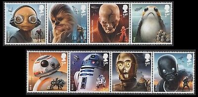 UK Star Wars Characters Stamp Set (8 stamps) MNH 2017