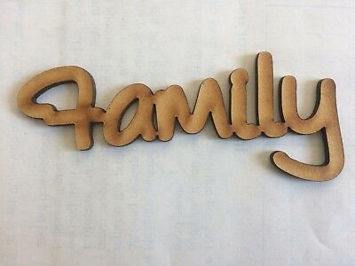 MDF Laser Cut Word – Family - 11cm x 3cm Wooden Craft Scrapbook Shape