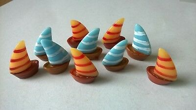 Boats assorted colours x 10 DOLLS HOUSE MINIATURES (F5078)