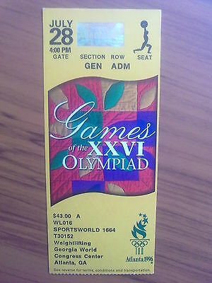 Ticket Olympic Games ATLANTA 28.07.1996 WEIGHTLIFTING