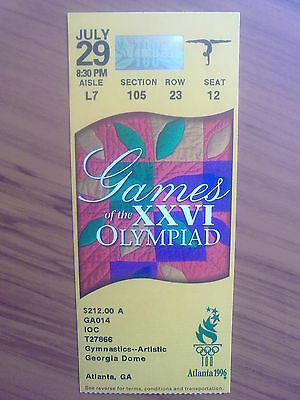 Ticket Olympic Games ATLANTA 29.07.1996 GYMNASTICS-ARTISTIC