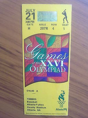 Ticket Olympic Games ATLANTA 21.07.1996 BASEBALL