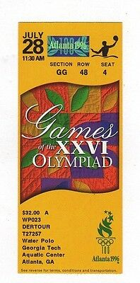 Ticket Olympic Games ATLANTA 28.07.1996 WATER POLO