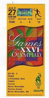 Ticket Olympic Games ATLANTA 27.07.1996 TENNIS