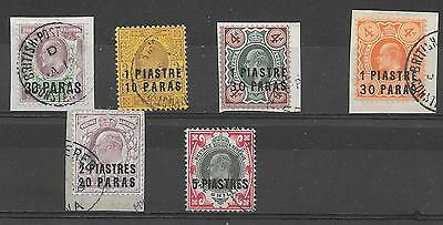 British Levant Sg16/21 1909 Surcharge Set Used