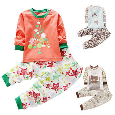 Baby Toddler Kid Boys Girls Long Sleeve Christmas Sleepwear Pyjama Set 0-4 Years