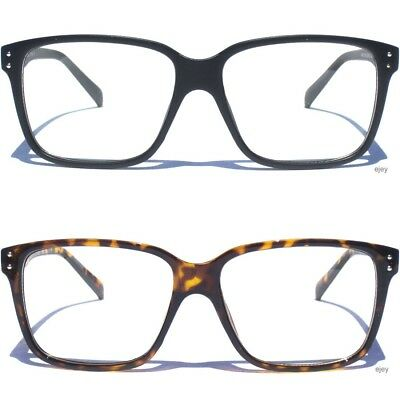 Square Style Clear Lens Glasses Horn Rimmed Rectangular Nerd Retro Frame