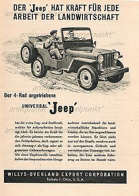 Willys Overland Export Co. Universal Jeep - Original Anzeige von 1949