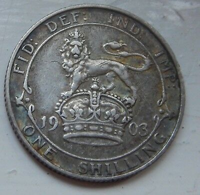 Shilling Edward VII 1903 Scarce Date about VF .925 Silver