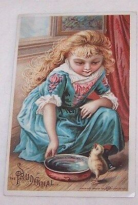1889 Trade Card-Prudential Insurance Co-Newark Nj-Girl With Baby Chick-